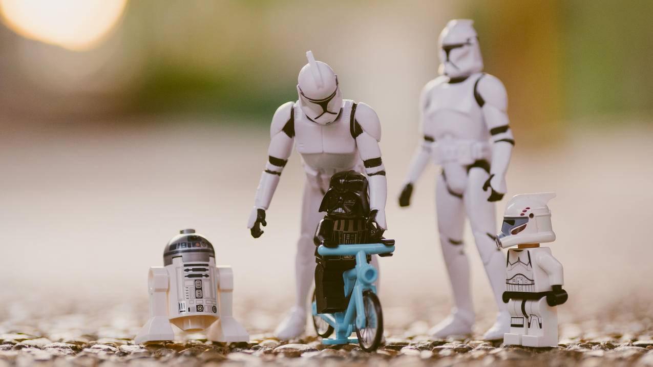 R2-D2,达斯·维达,冲锋队,特写镜头,宏,星球大战,玩具