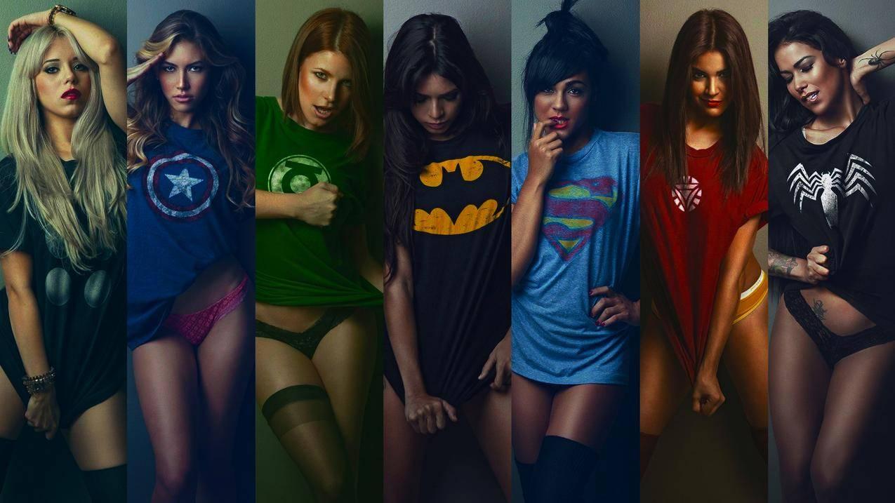 英雄,超级女人,黑发女人,金发女郎