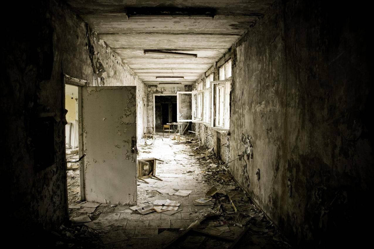 室内,切尔诺贝利,被抛弃,门,窗,废墟