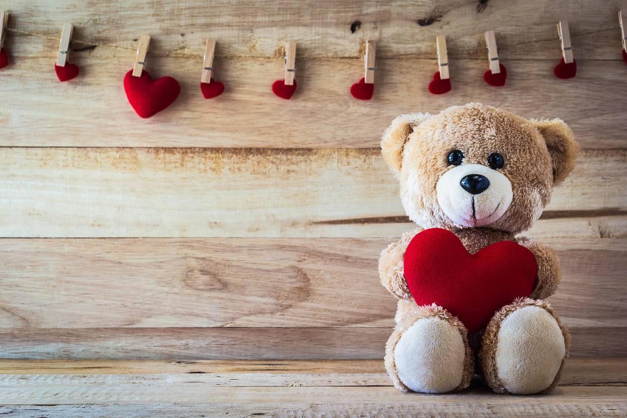 爱心,爱情的浪漫甜蜜,玩具熊4K壁纸图片