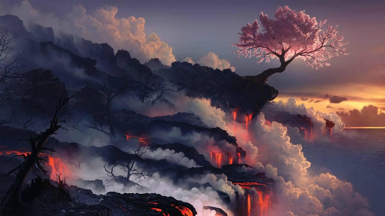 熔岩,自然,树,创意设计4K壁纸