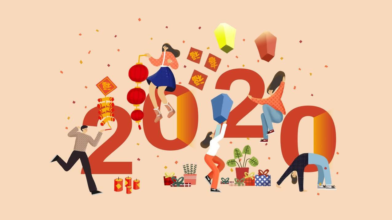 2020新年快乐创意设计4k壁纸3840x2160
