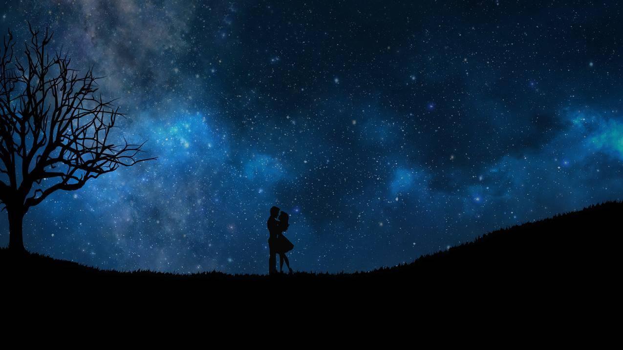 夜晚,星空,浪漫夫妇,剪影4k壁纸