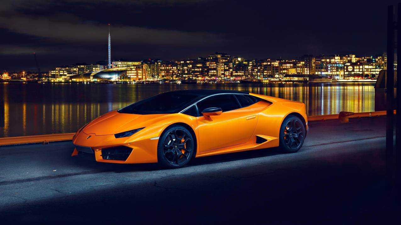 兰博基尼LP580橙色跑车4k壁纸