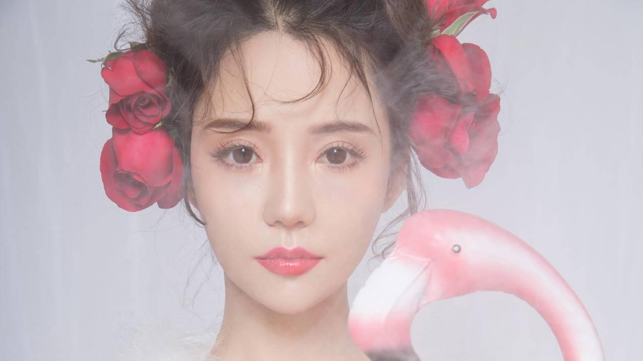 可欣,玫瑰花,唯美美女4k壁纸