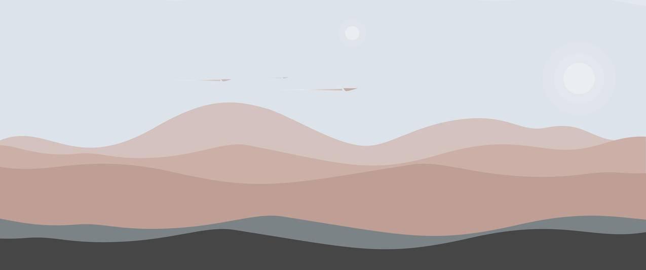 沙丘雾天简约风景3440x1440壁纸