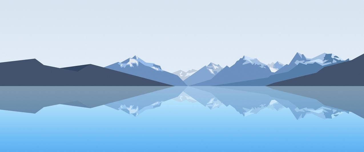 山水倒影简约风景3440x1440壁纸