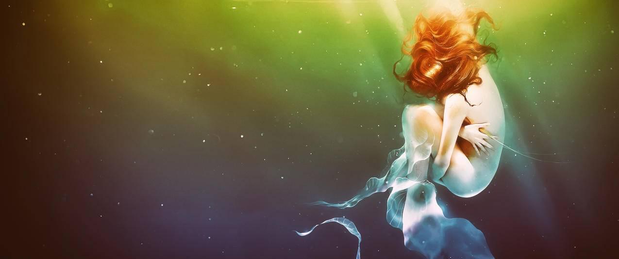 水下,女人,唯美艺术3440x1440电脑壁纸