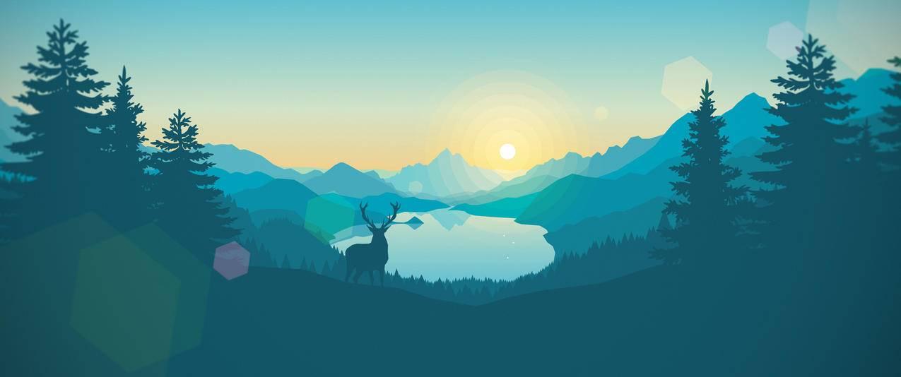 日出,简约,极简主义风景3440x1440壁纸