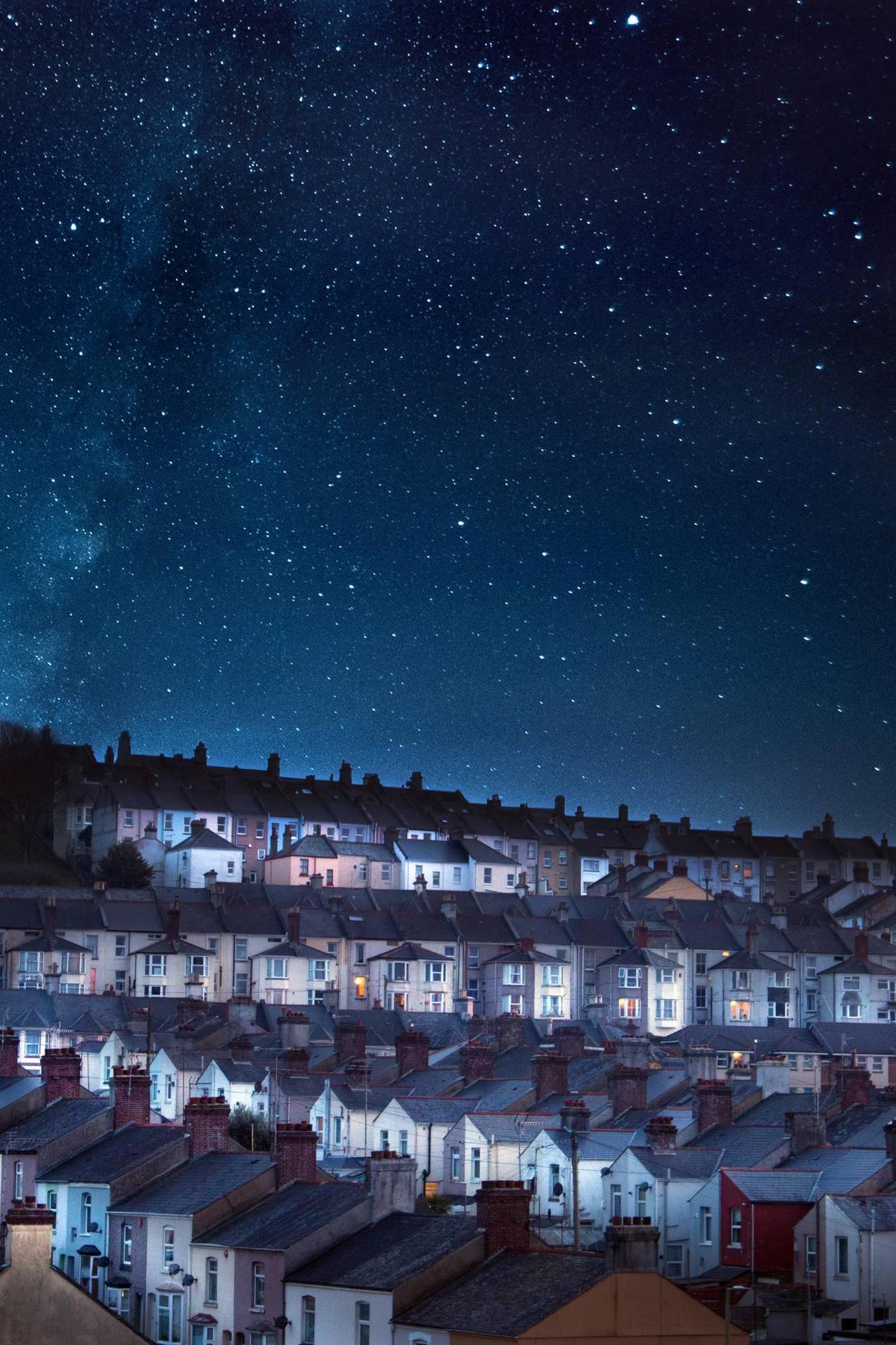 星空下的房屋高清图片