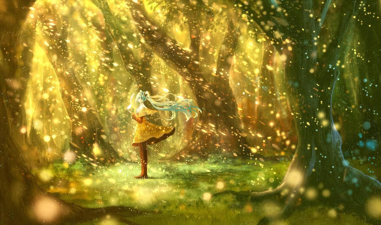 VOCALOID初音未来,森林,唯美,意境,4K壁纸图片