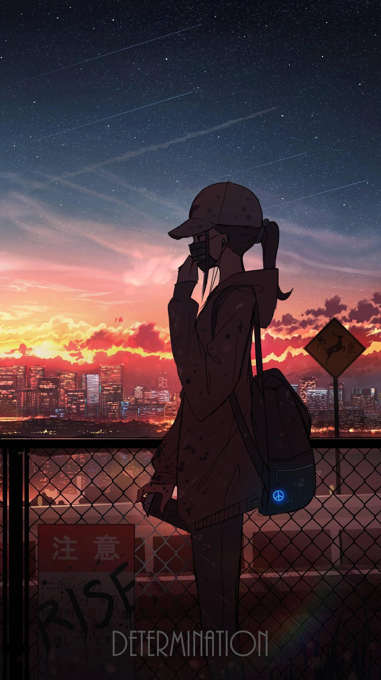 戴口罩的女孩子,风景,夕阳,天空,云,2k动漫手机壁纸