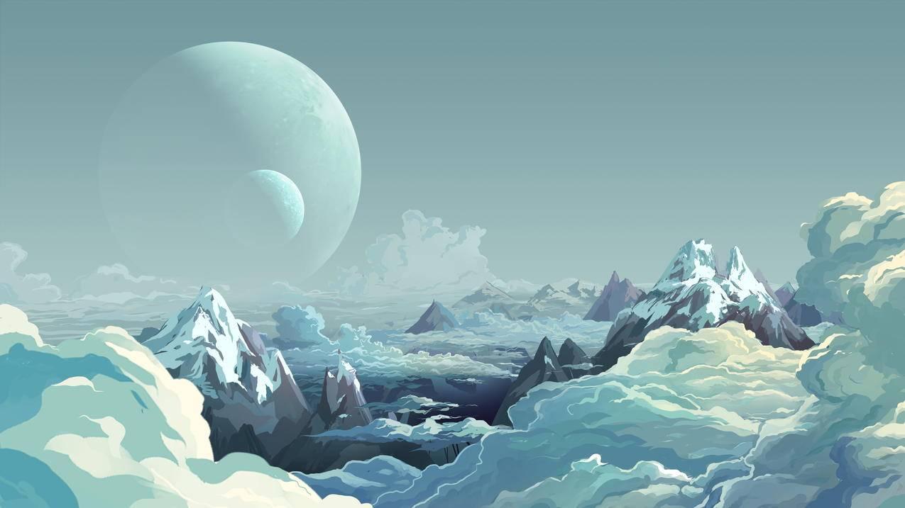 高地,月亮,云,唯美动漫风景4k壁纸3840x2160