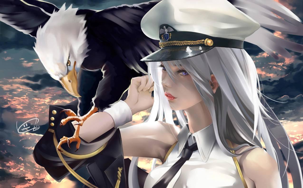 碧蓝航线,美少女,海军服,老鹰,4k动漫壁纸