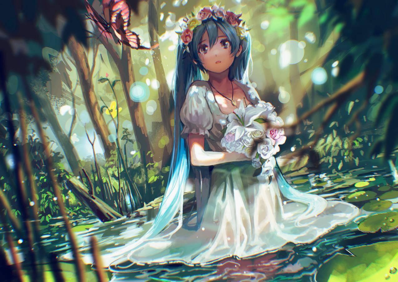 女孩,眼泪,鲜花,花圈,初音未来,蝴蝶,二次元动漫4K壁纸