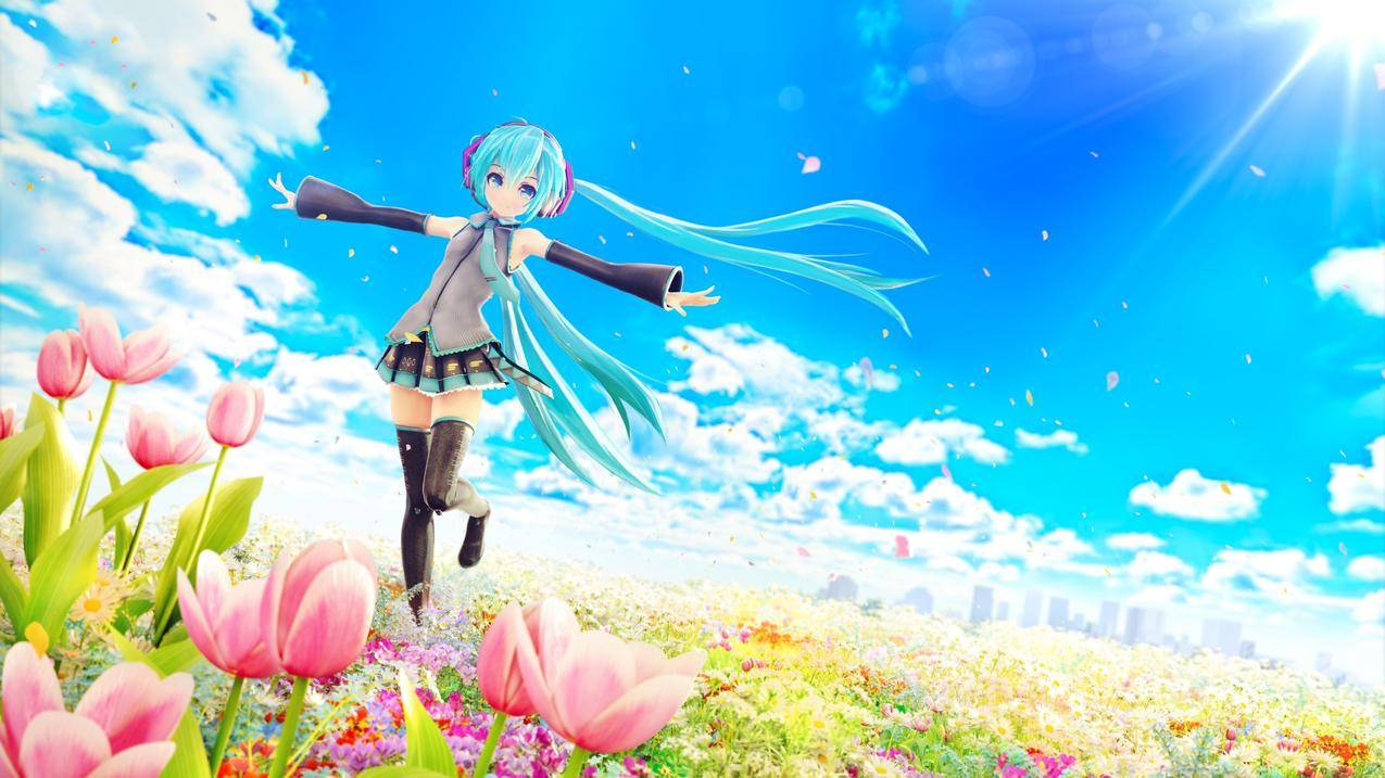 天空,花,郁金香,初音未来,动漫女孩4K壁纸