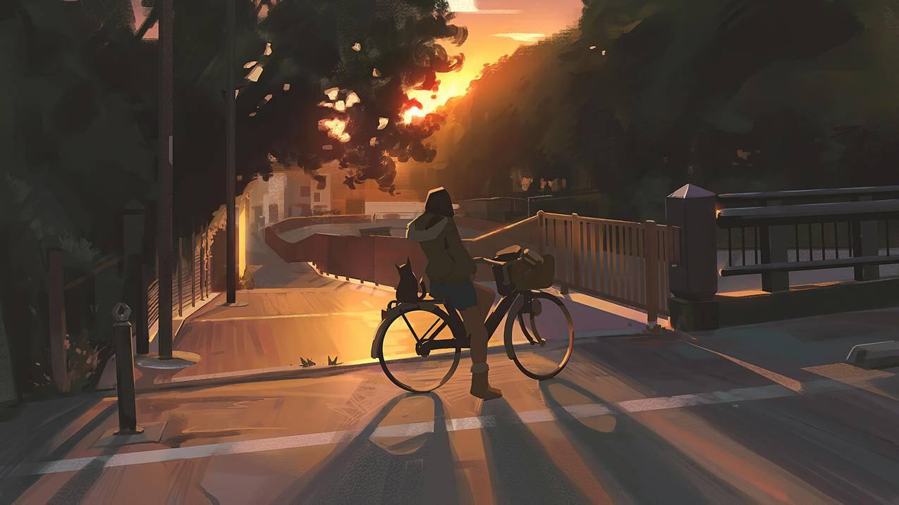 晚间骑自行车女孩4k动漫壁纸