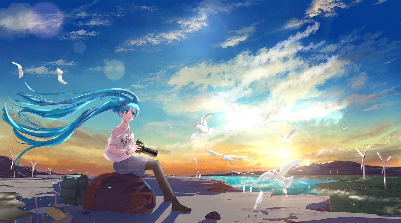 天空,云,鸟,VOCALOID,女孩,初音未来,二次元动漫4K壁纸