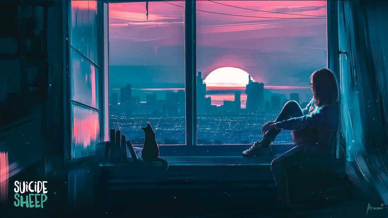 窗台,日落,女孩,e,书本,alena,aenami,4k壁纸