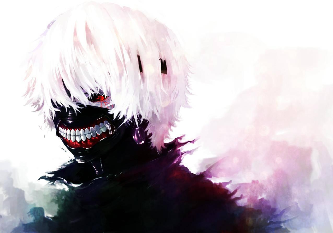 面具,白头发,红红的眼睛,东京食尸鬼4K壁纸图片