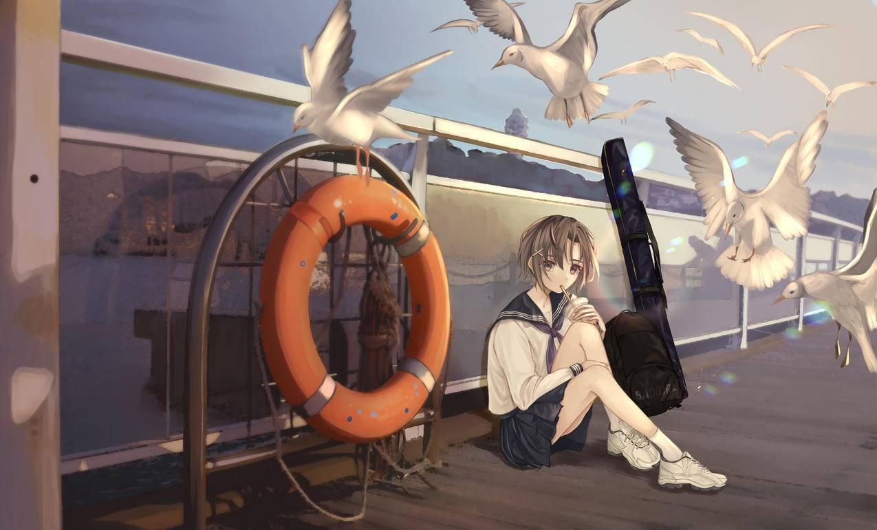 女学生 校服 背包 奶茶 饮料 海鸥 围栏 4k动漫壁纸