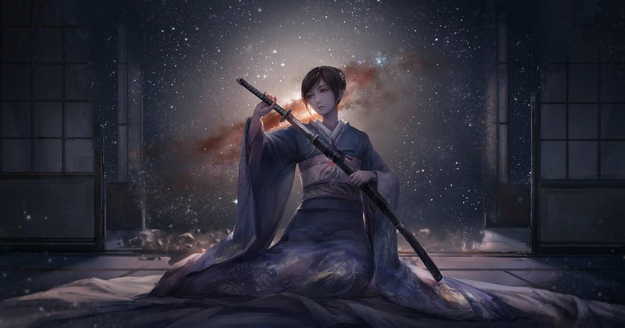 和服,动漫,女孩,武士刀,晚上,天空,星空,4K动漫壁纸