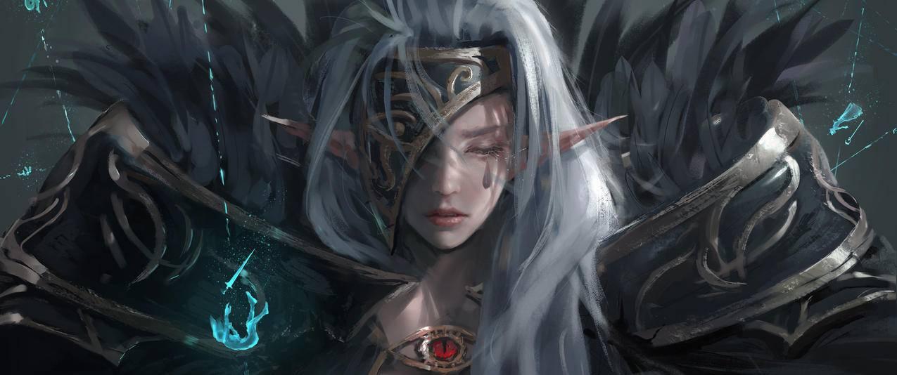 女孩尖尖的耳朵,精灵,鬼刀3440x1440壁纸