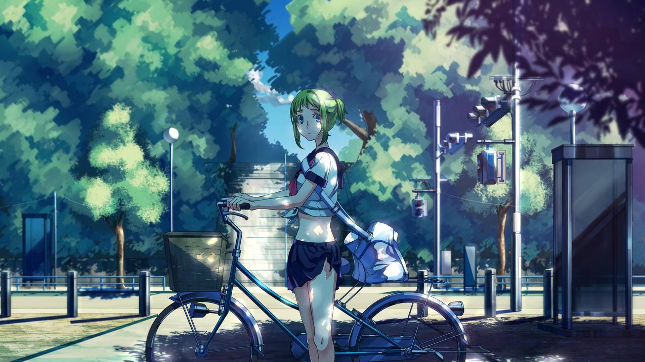 VOCALOID,树,光,自行车,女孩,初音未来4K动漫壁纸