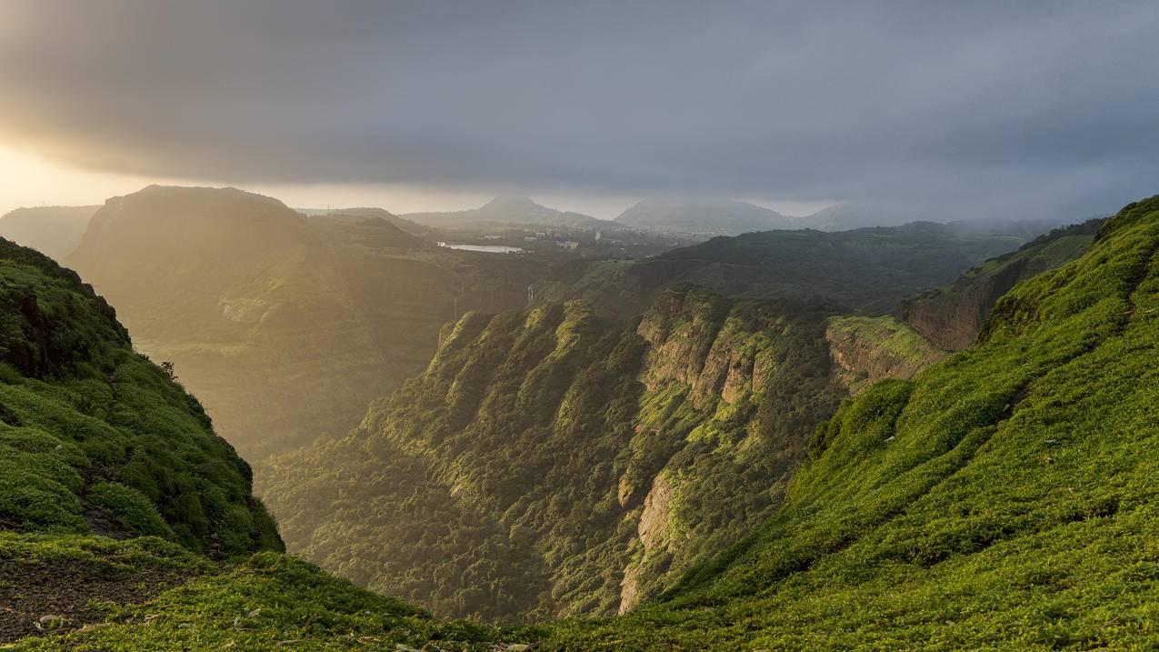 印度,夕阳,山谷风景4K壁纸
