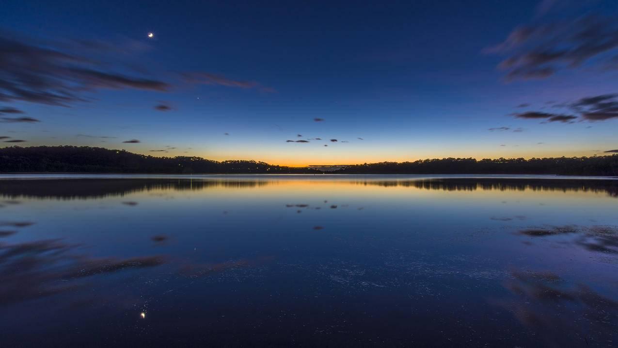 澳大利亚悉尼,Narrabeen湖,黎明,5K风景壁纸