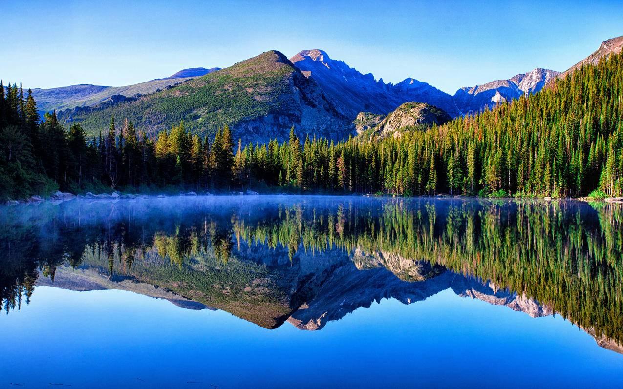 天空,湖,森林,4K风景壁纸