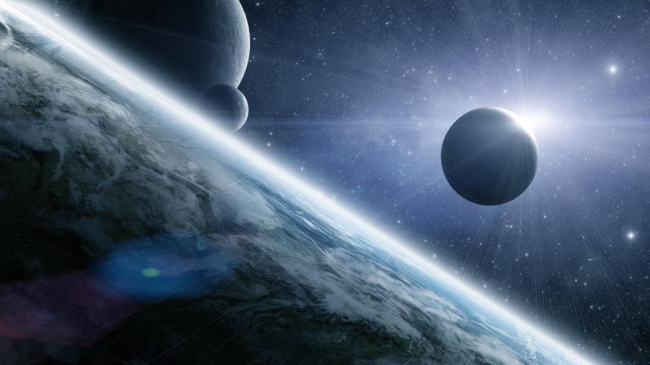 行星,日食,星星,月亮,4K星空壁纸