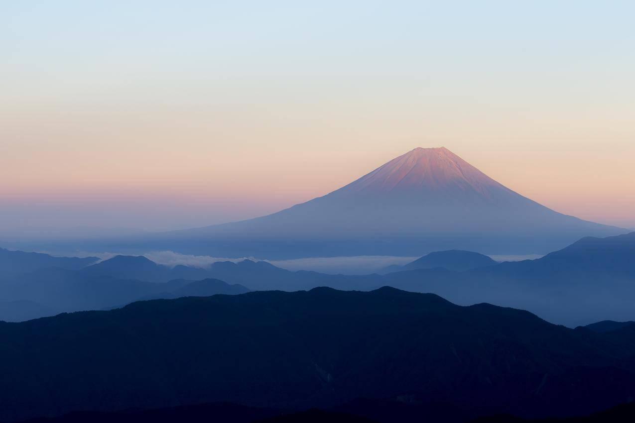 黎明,雾,日本富士山4K风景壁纸