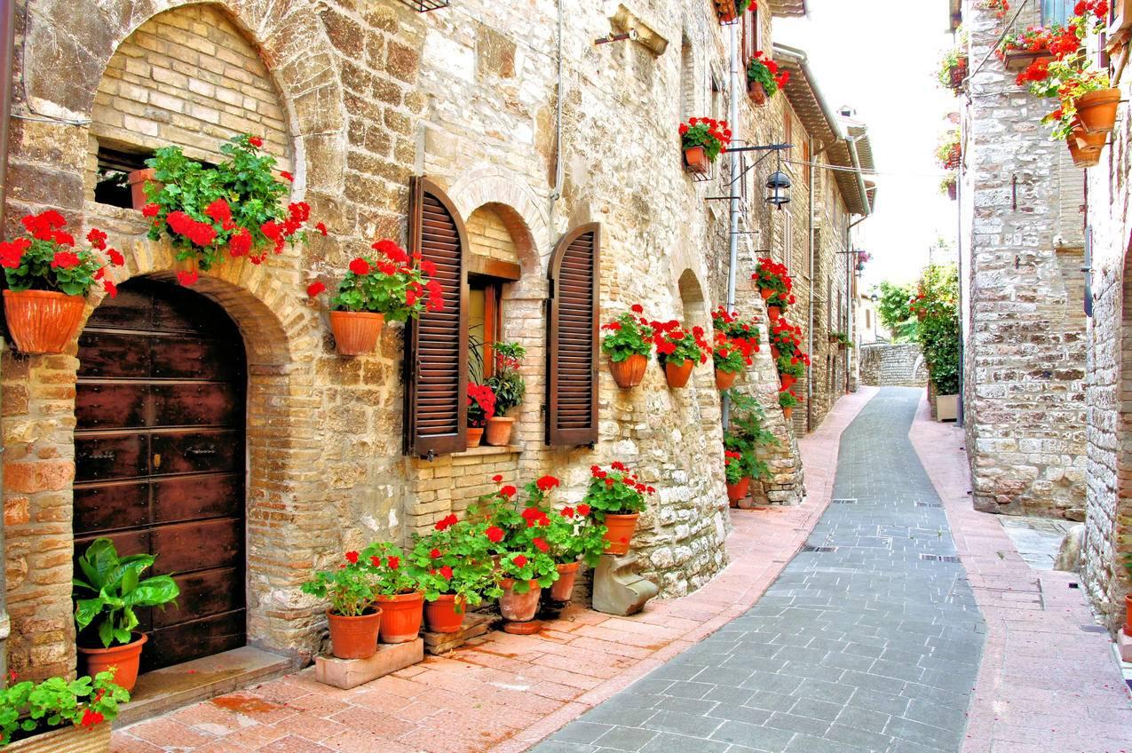花,房子,意大利,街道,4K风景壁纸