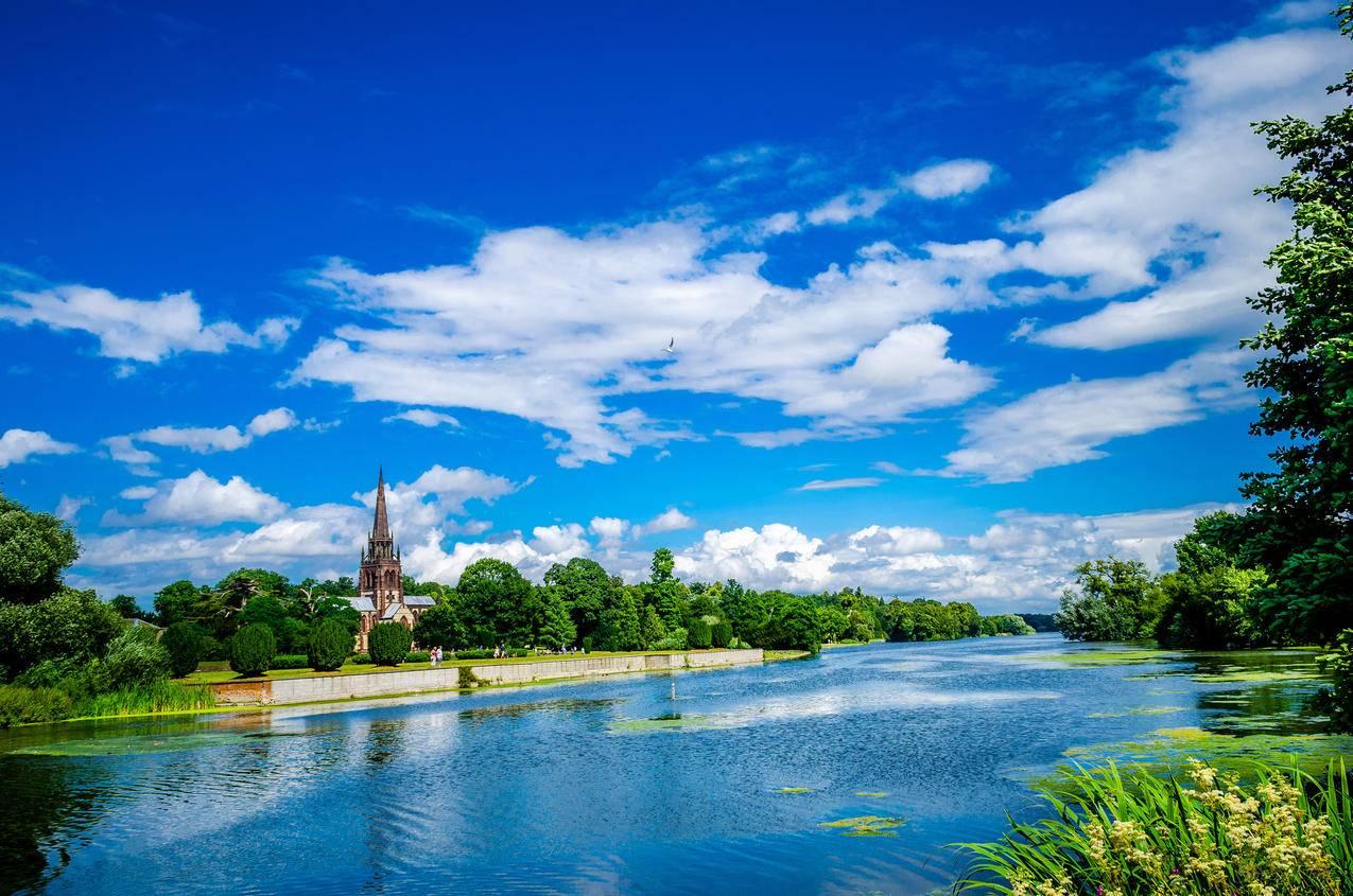 教堂,树木,在克伦伯公园,圣玛丽,诺丁汉,湖泊,天空,4K风景壁纸