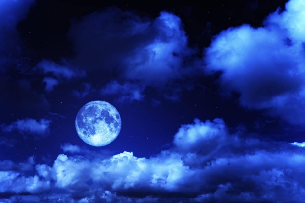 夜空,星云,月亮,星空风景4K壁纸
