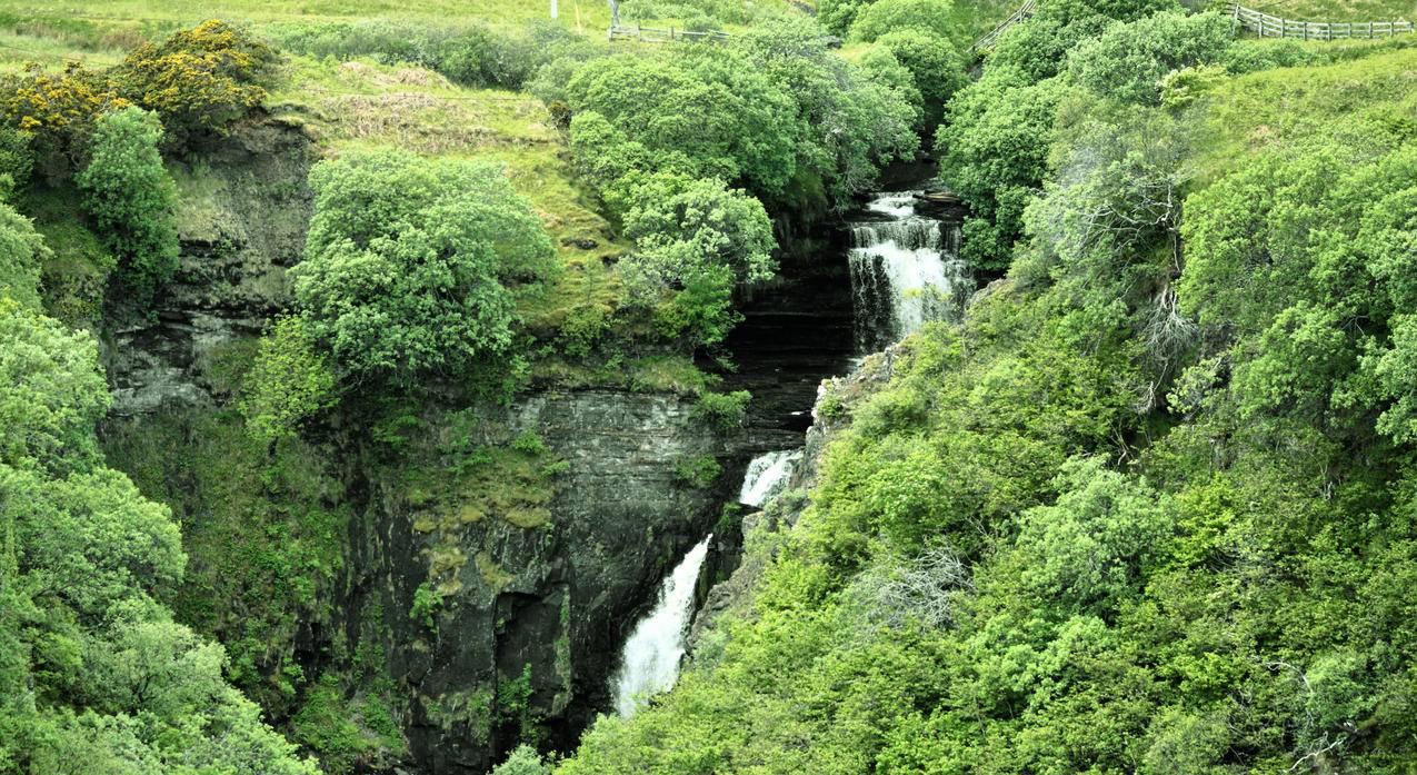 苏格兰,瀑布,溪流,灌木,4K风景壁纸图片