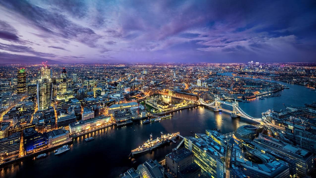 英国伦敦西欧城市夜景4K壁纸3840x2160