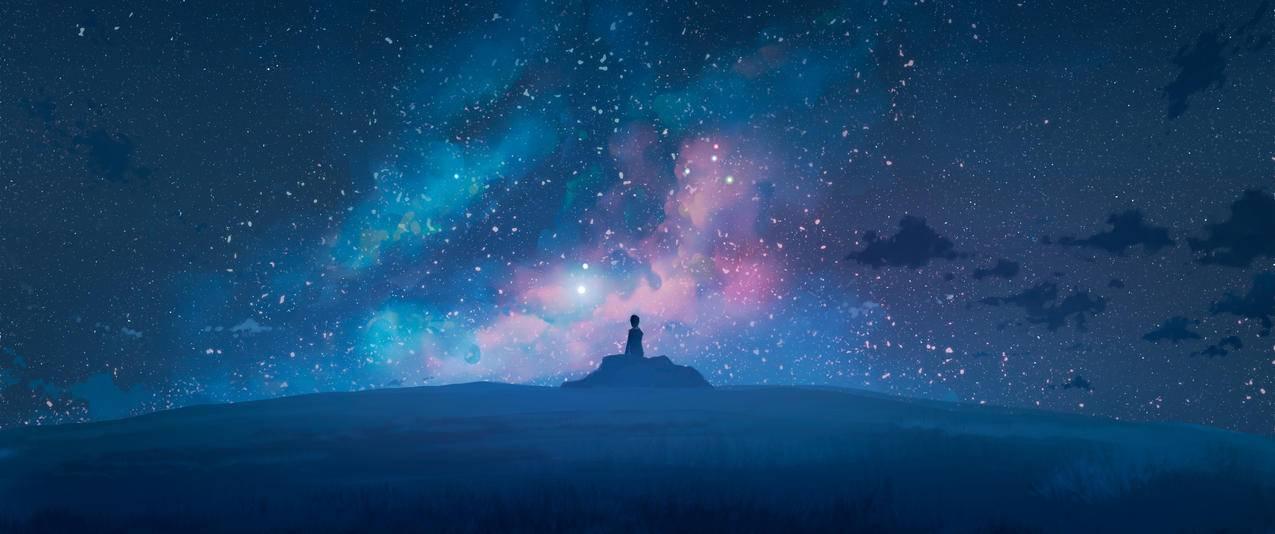 宇宙 星空 云 一个人 心愿 愿望 3440x1440动漫壁纸