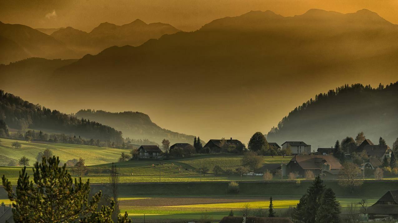 秋季,黄昏,下午,村庄风景7K图片壁纸