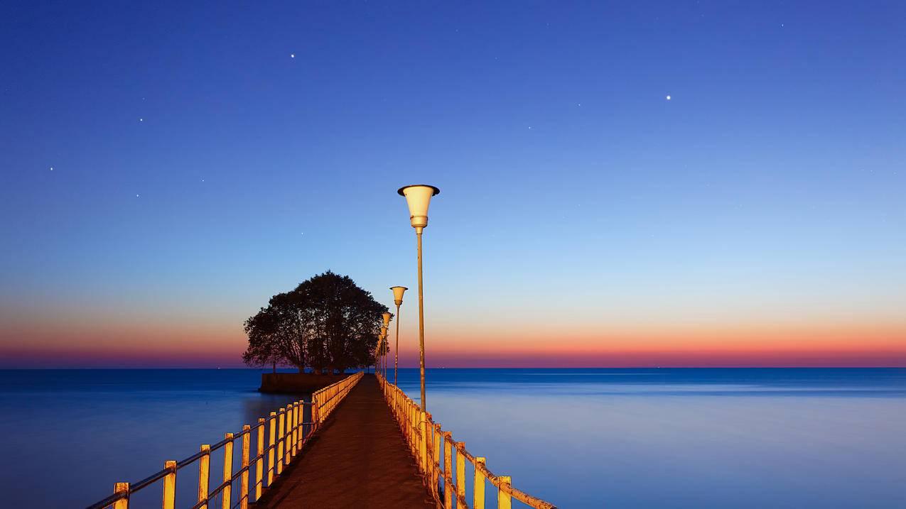 阿根廷的布宜诺斯艾利斯,海洋,码头,水,星星,黎明,4K壁纸