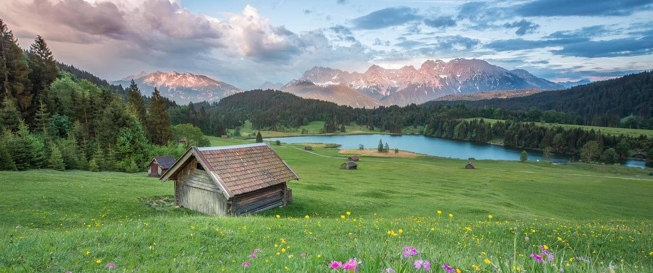 阿尔卑斯山脉风景3440x1440壁纸