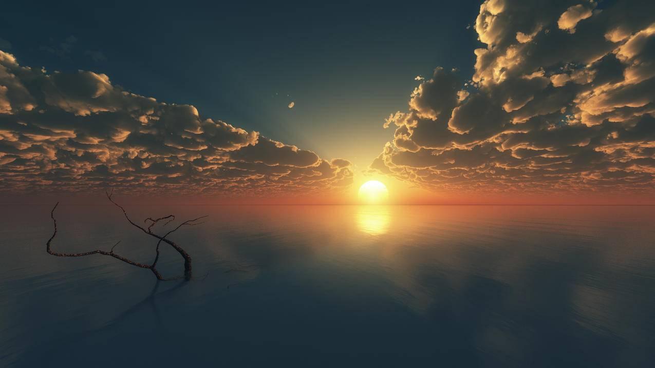 天空,云,日落风景3840x2160壁纸