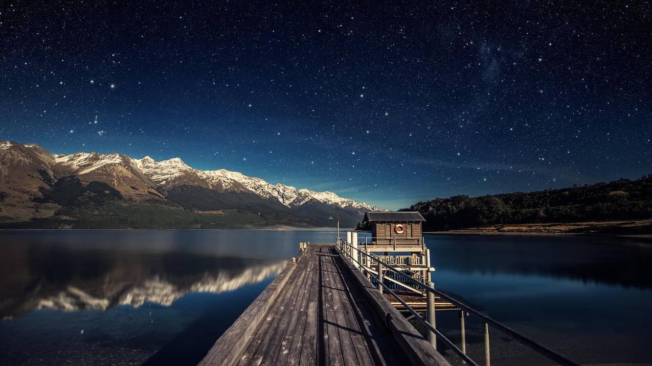 夜晚,月亮,新西兰瓦卡蒂普湖,星空,4K壁纸