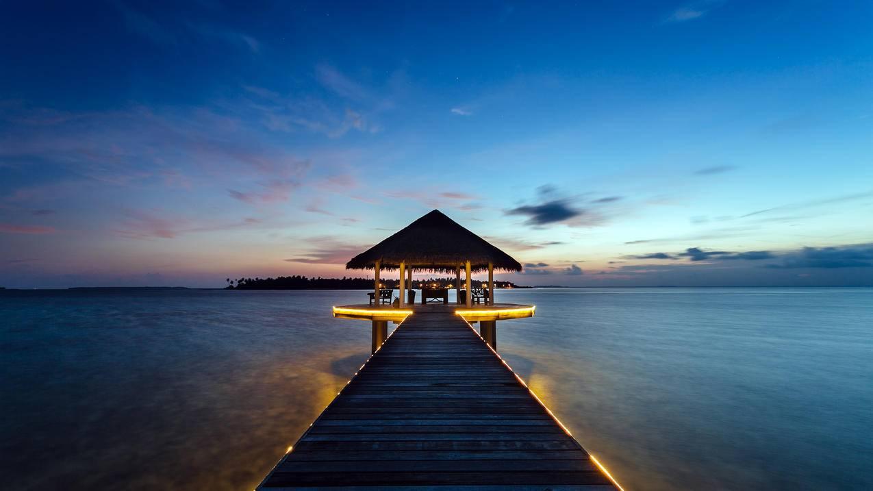 马尔代夫,美丽小岛,日落风景,4K壁纸