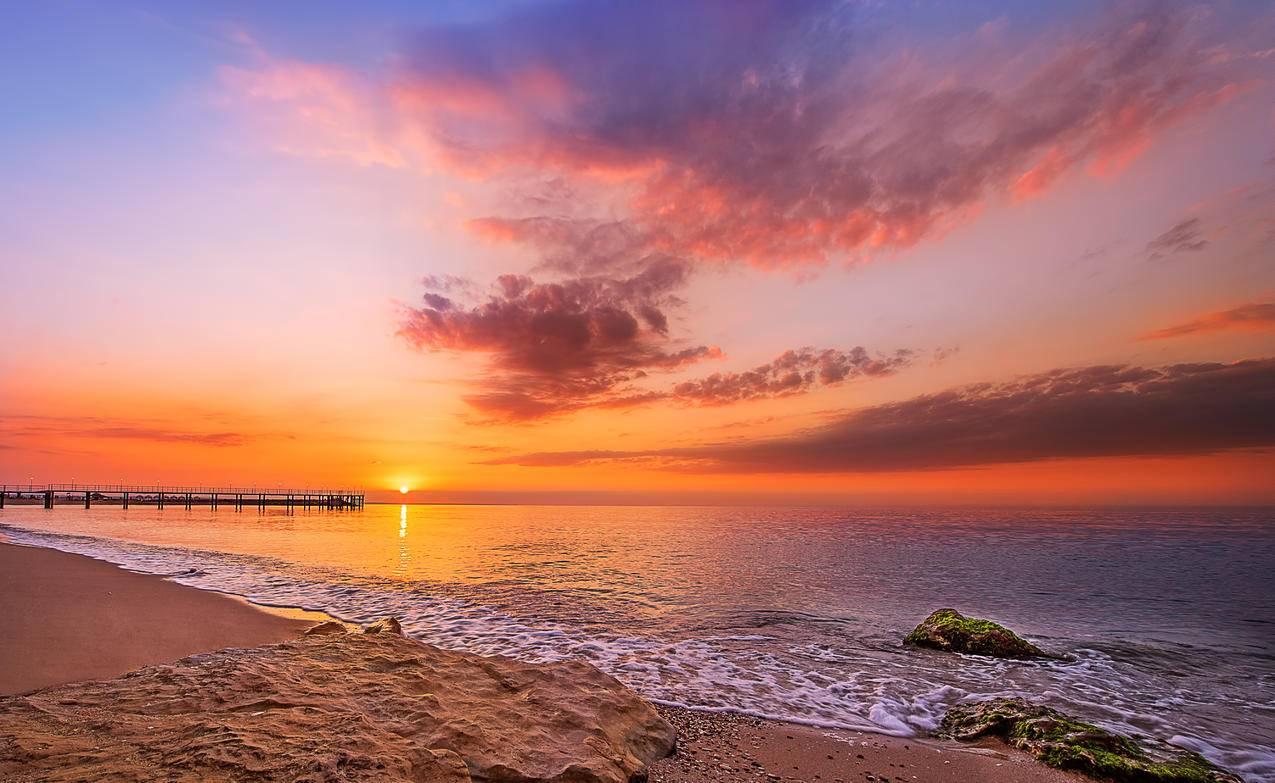 美丽的热带,海滩,日出,5K风景壁纸