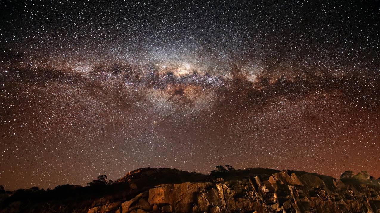 星空,岩石,银河,星系,银河系,星星,4K壁纸