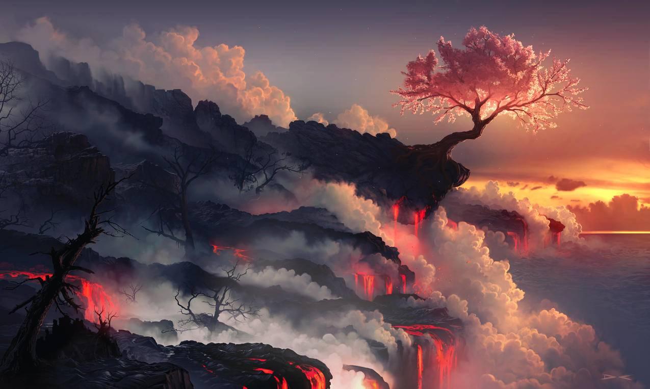 天空,云,火山,树,唯美艺术,4k风景壁纸