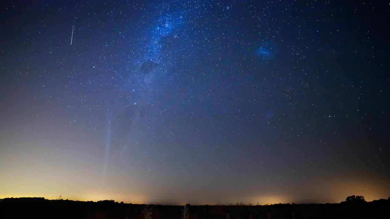 麦哲伦云,彗星,月亮,流星,洛夫乔伊,4K壁纸