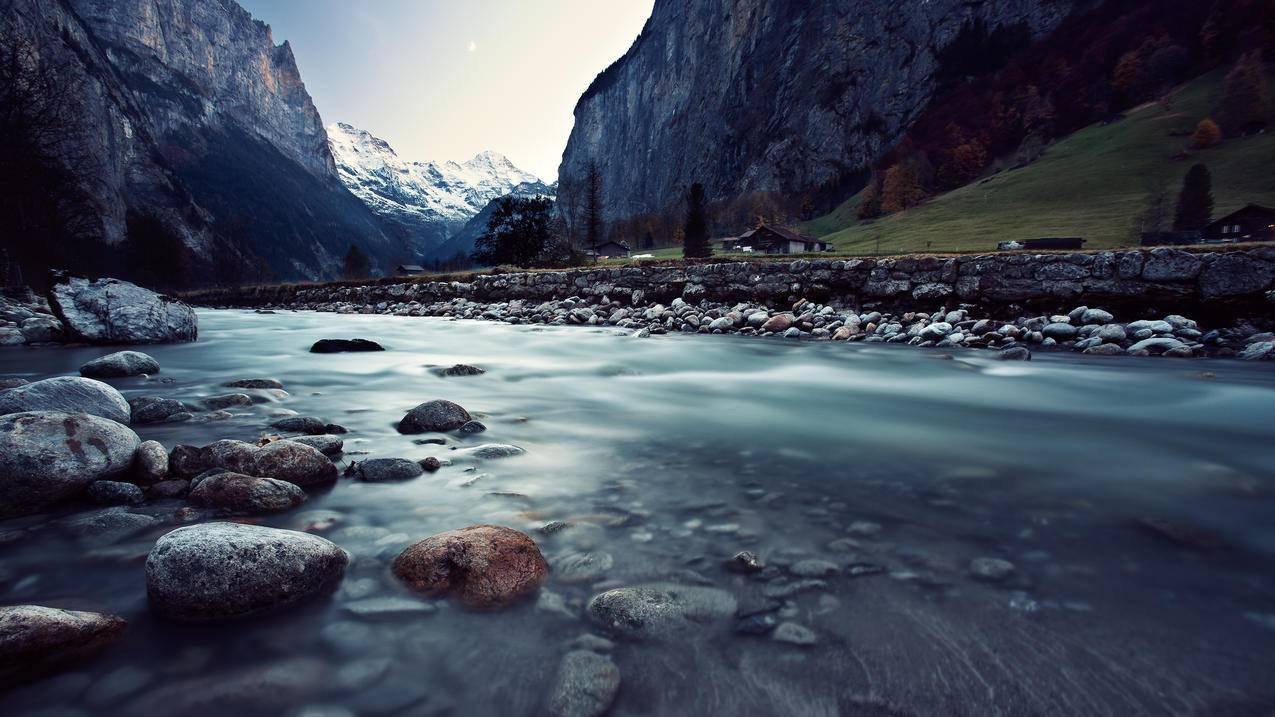 瑞士劳特布龙嫩,山川,河流风景3840x2160壁纸